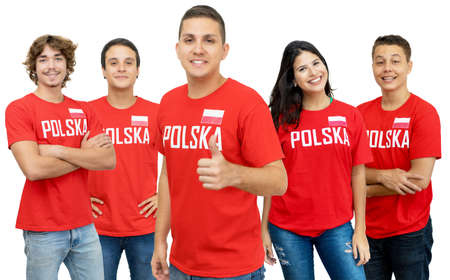 Laughing football fan from Poland with group of polish supporters isolated on white background for cut out