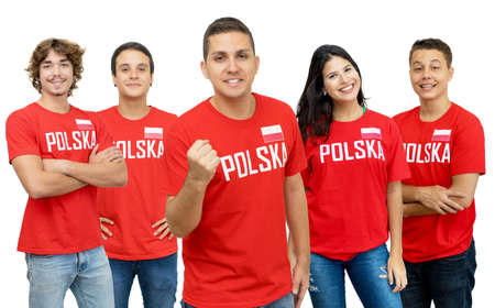 Happy football fan from Poland with group of polish supporters isolated on white background for cut out