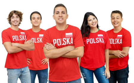 Handsome football fan from Poland with group of polish supporters isolated on white background for cut out