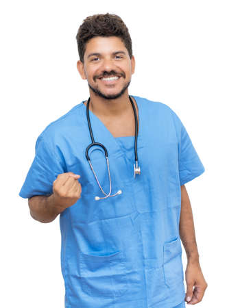Happy mexican male nurse at work 免版税图像 - 163933920