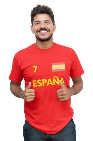 Happy spanish soccer fan with beard and red jersey isolated on white background for cut out 免版税图像 - 164190980
