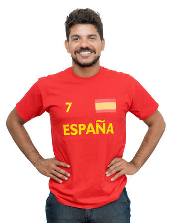 Spanish soccer fan with beard and red jersey isolated on white background for cut out 免版税图像 - 164190982