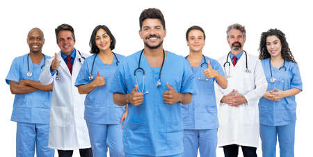 Optimistic latin american male doctor with motivated medical team 免版税图像 - 164190997