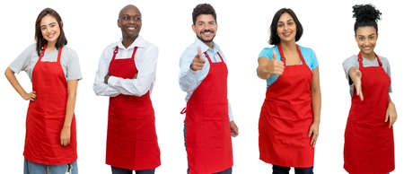 Waiters and waitresses and clerks - Group of motivated latin american and african and caucasian workers isolated on white background for cut out