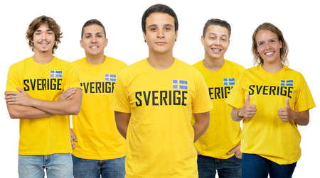 Football fan from Sweden with group of swedish supporters isolated on white background for cut out 免版税图像 - 164135822