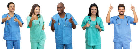 Doctors and nurses - Group of motivated latin american and african and caucasian healthcare workers isolated on white background for cut out