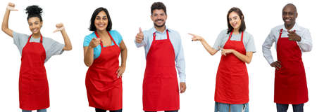 Waiters and waitresses and clerks - Group of happy latin american and african and caucasian workers isolated on white background for cut out 免版税图像 - 164245448
