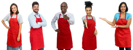 Waiters and waitresses and clerks - Group of awesome latin american and african and caucasian workers isolated on white background for cut out