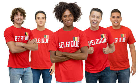 Handsome football fan from Belgium with group of belgian supporters isolated on white background for cut out 免版税图像 - 165209794