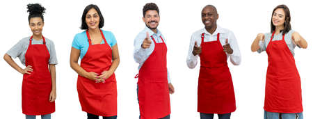 Waiters and waitresses and clerks - Group of beautiful latin american and african and caucasian workers isolated on white background for cut out