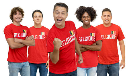Cheering football fan from Belgium with group of belgian supporters isolated on white background for cut out 免版税图像 - 165209796