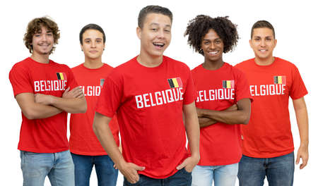 Young football fan from Belgium with group of belgian supporters isolated on white background for cut out 免版税图像 - 165209793