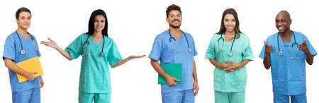 Doctors and nurses - Group of motivated latin american and african and caucasian healthcare workers isolated on white background for cut out 免版税图像 - 165209797