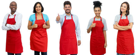 Waiters and waitresses and clerks - Group of laughing latin american and african and caucasian workers isolated on white background for cut out