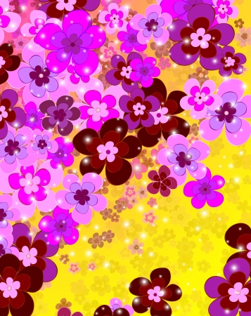 flower of happiness, floral background Illustration