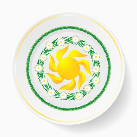 The dish, painting  floral pattern Vector