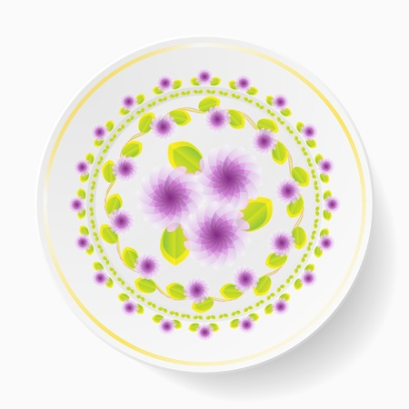 The dish, painting  floral pattern Illustration