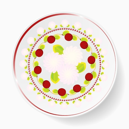 The dish, pattern with cherries Illustration