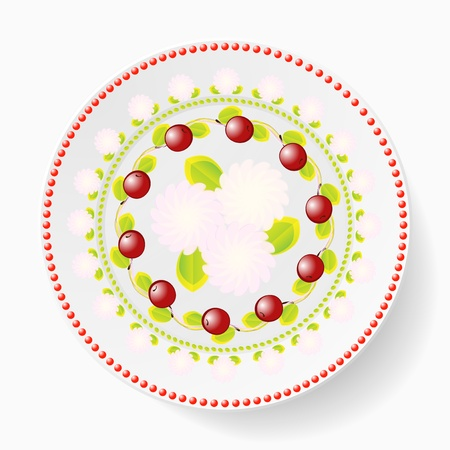 The dish, pattern with cherries Vector
