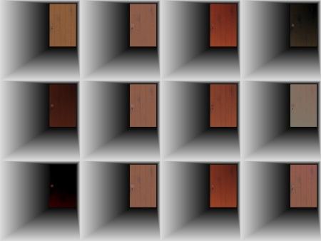 doorhandle: abstract set, collection of doors Illustration