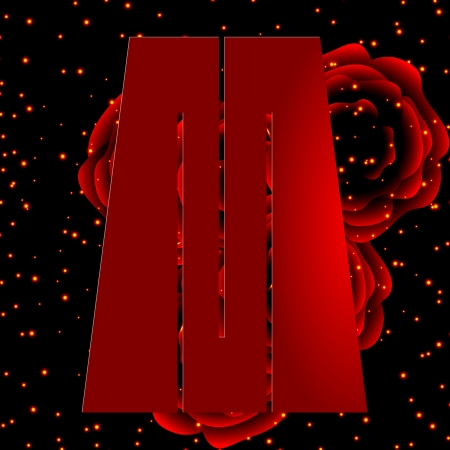 Alphabet on a background of red roses Letter M