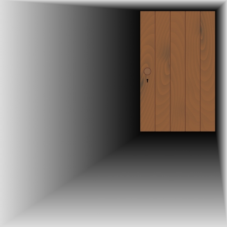 wooden door with wooden handle and keyhole Stock Vector - 21676843