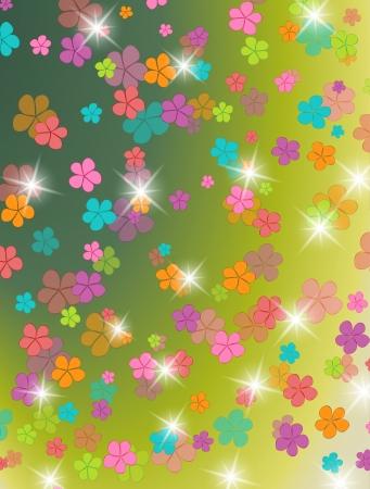 stamen: Group of colors, floral background Illustration