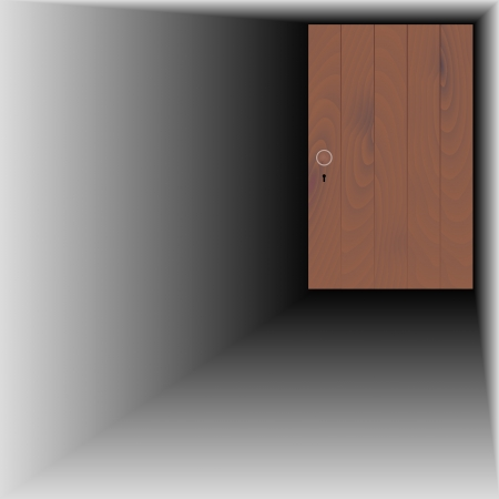 recess: wooden door with wooden handle and keyhole Illustration