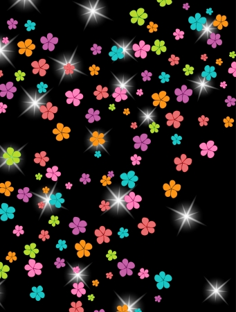 Group of colors, floral background Illustration