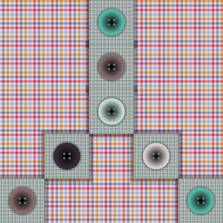 set of fabric with buttons on a contrasting background Illustration