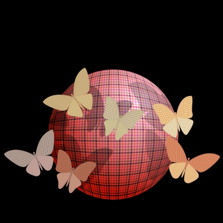 group of butterflies near the ball on a black background Vector