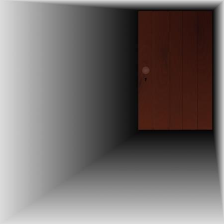 wooden door with wooden handle and keyhole Stock Vector - 24454238