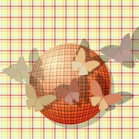 wingspan: group of butterflies near the ball on the background fabric texture