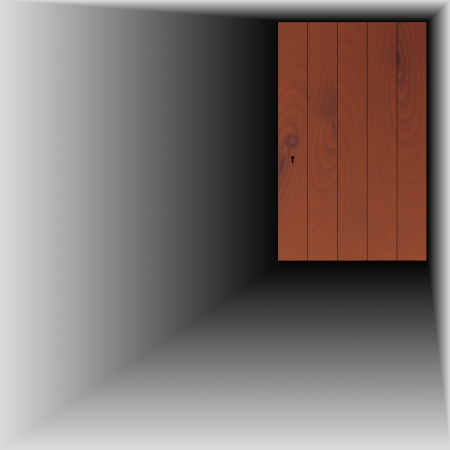 wooden door with handle and keyhole