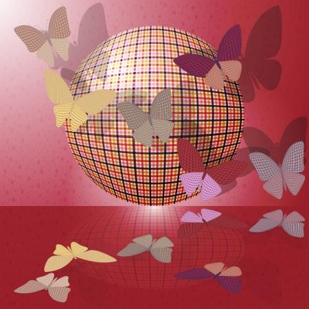 wingspan: set di farfalle o gruppo di insetti vicino al pallone Vettoriali