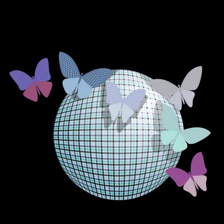 wingspan: gruppo di farfalle vicino la palla su uno sfondo nero