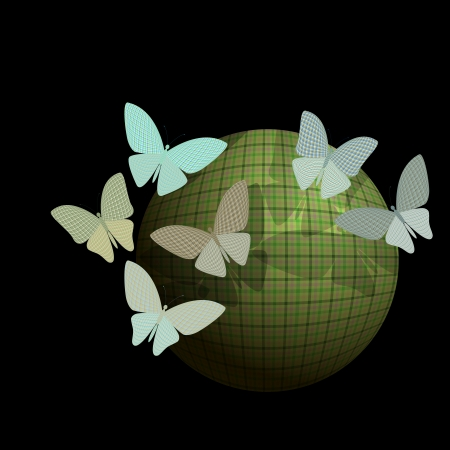 group of butterflies near the ball on a black background