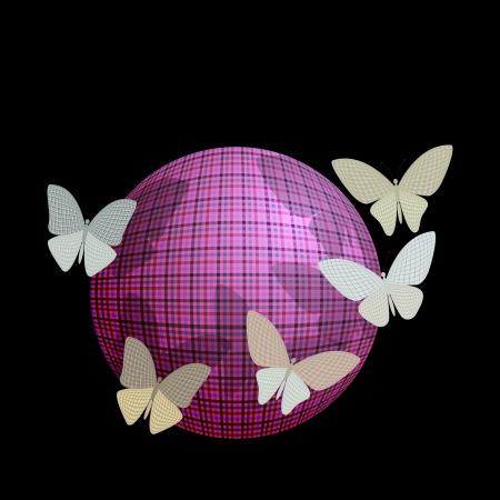 wingspan: gruppo di farfalle vicino alla palla su sfondo nero