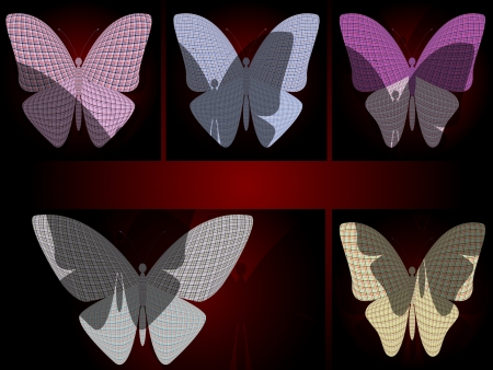 chitin: set of abstract butterflies with shadows