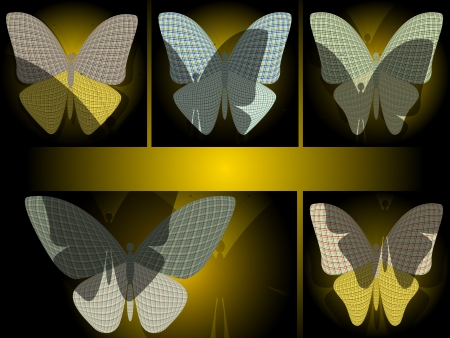 wingspan: set of abstract butterflies with shadows