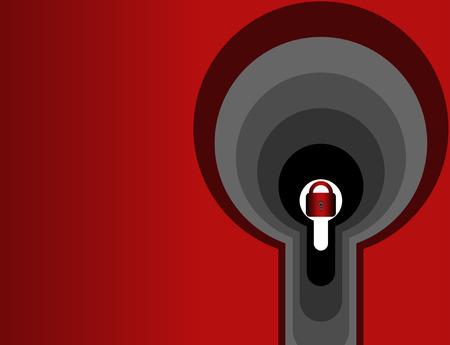 lock seen through a few door knobs