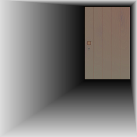 wooden door with handle and keyhole Stock Vector - 26826590