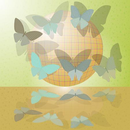 wingspan: set di farfalle o di un gruppo di insetti vicino a palla Vettoriali