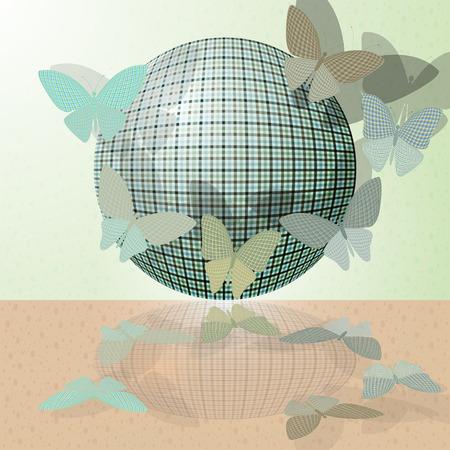 wingspan: set di farfalle o di un gruppo di insetti vicino la palla