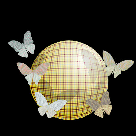 wingspan: group of butterflies near the ball on a black background