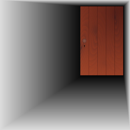 recess: wooden door with handle and keyhole