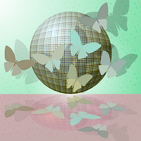 wingspan: set of butterflies or group of insects near the ball