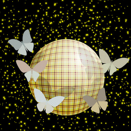 wingspan: group of butterflies near the ball on a brilliant background