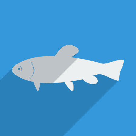 Flat icons modern design with shadow of tench. Vector illustration
