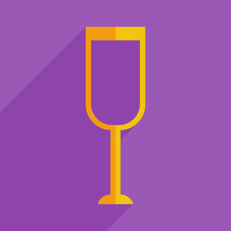 Flat icons modern design with shadow of glass and champagne. Vector illustration